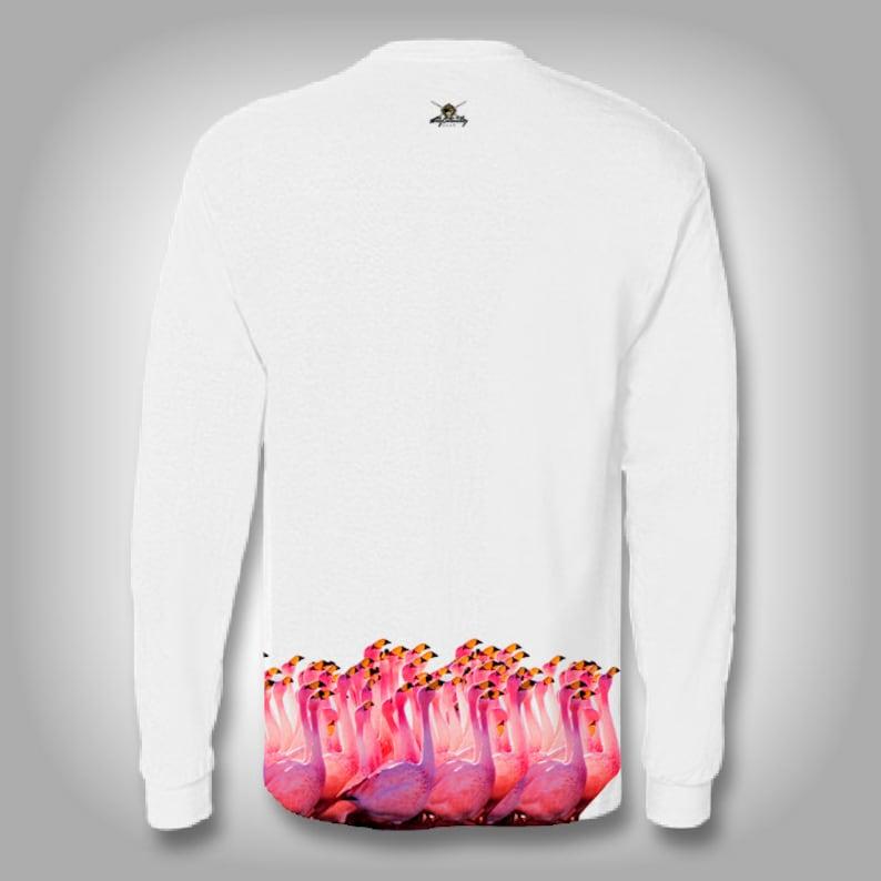 fast drying Get Flocked Flamingo Wrap moisture wicking long sleeve shirt performance swim rash guard antimicrobial solar protection