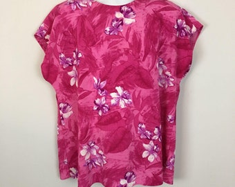 Vitnage blouse 1980s floral medium blue and gold Maggie Sweet