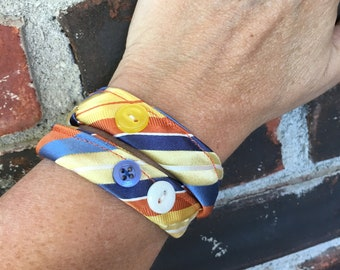 Necktie Bracelet Fabric Wrap Cuff Gift For Woman Wife Sister Adjustable Bracelet Handmade Jewelry Thank You Get Well Out Of The Box Funky