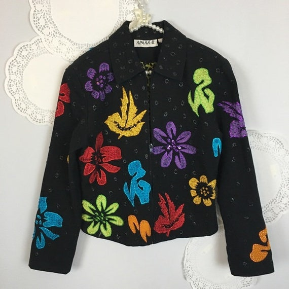 FLORAL  BEADED  JACKET Statement Vintage Bright Fu