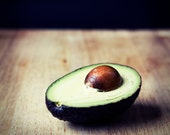 Avocado Still Life photograph, 5x5, white mat
