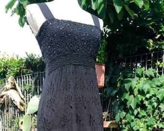 Vestito nero lungo donna cotone paillettes indian style ricamo fiori boho  style capodanno festa discoteca woman black dress anni 90 742185b4421