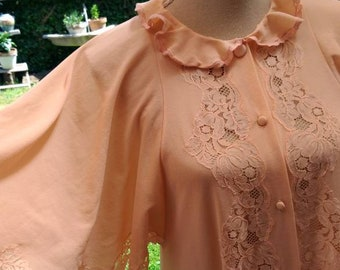 Vintage Robe Salmon fishing shabby chic wedding bride mom dressing gown lace years 60 very very chic