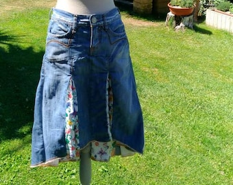 Gonna denim jeans 80s vintage ricamo spicchi boho chic donna  casual chic originale jeans fiori ricamo country chic