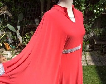 689df18b25d Vintage femme robe fille Kaftan inspiré orange des années 70 Kaftan chic  Boho style Yuppie Made in France hippie femme robe