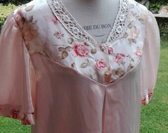 Camicia da notte SALE !shabby chic vintage rosa fiori rose  liscio elegante nightgown woman chic sposa romantica donna romantica rose