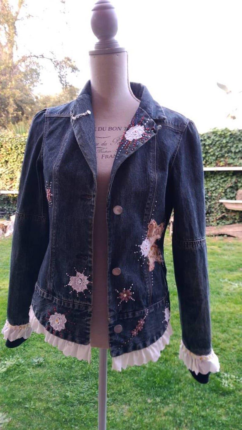 Giubbino jeans denim ricamo chic giacca da donna perline  69ea62f79012