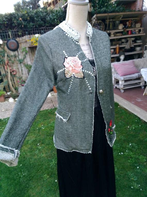 Vintage Jacket woman silver lurex blazer Shag woma