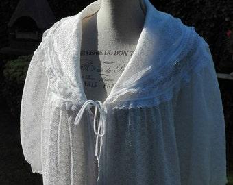 Vestaglia SALE! Shabby chic bianca wedding sposa woman pizzo vintage 50s Dressing gown Shabby chic woman