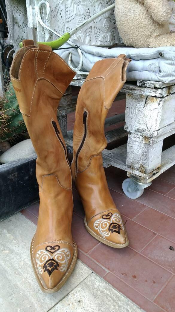 Cuir Cowboy Broderie Style Vintage En Beige Bottines Boots Western waq8p