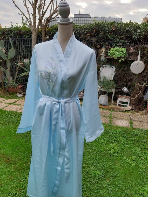 Shabby chic dressing gown vintage sky light blue s