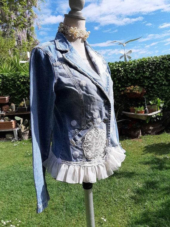 Jeans denim shabby chic jacket jacket woman embroi