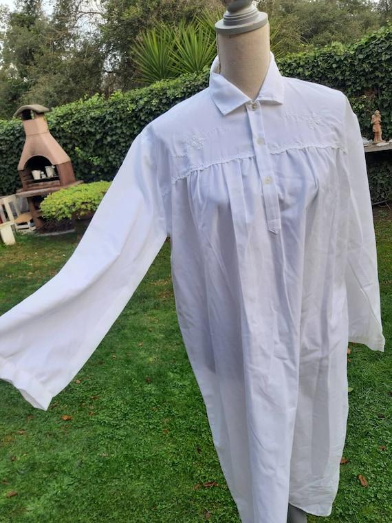 Nightgown white gown vintage cotton terital grandm