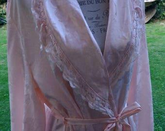 Vestaglia shabby chic vintage salmone damascato fiori damasco lucido sposa wedding chic dressing gown chic woman lingerie di lusso