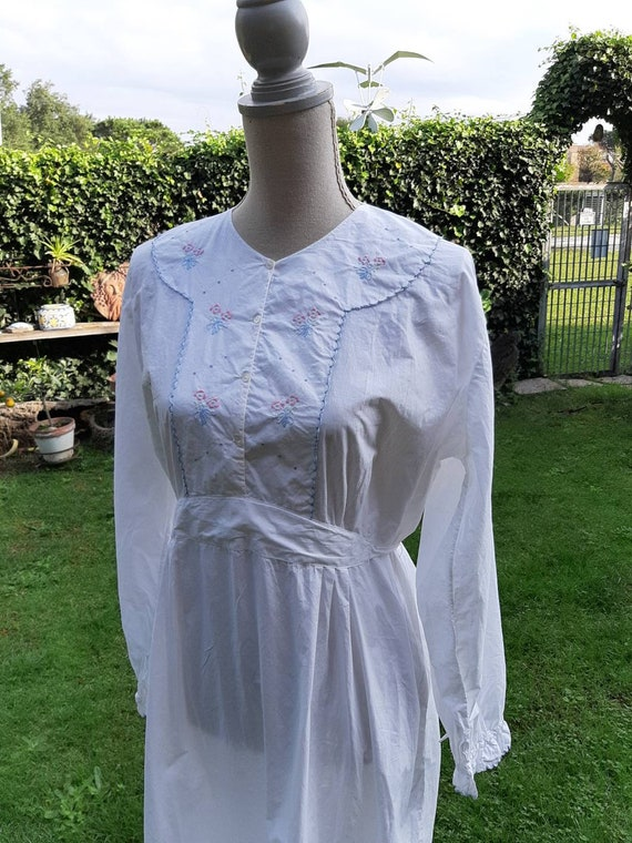 Nightgown vintage cotton natural cotton hand-embro
