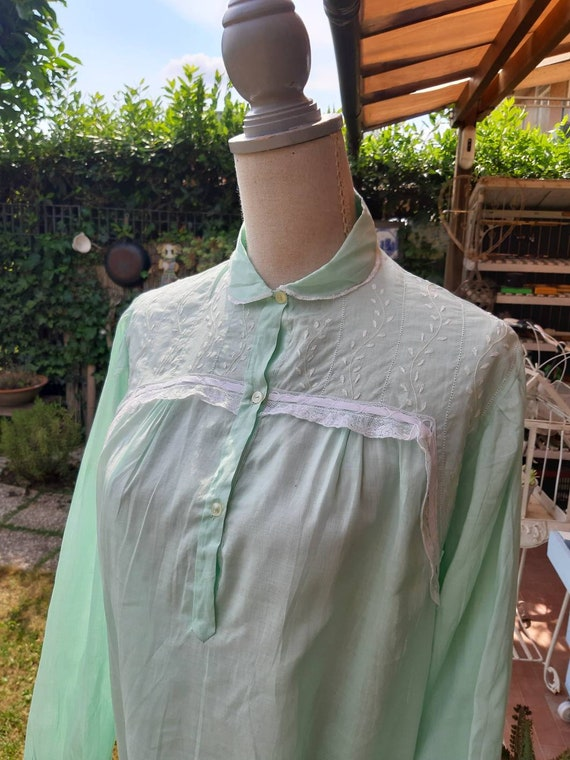 Vintage green green green shirt white lace 50s nig