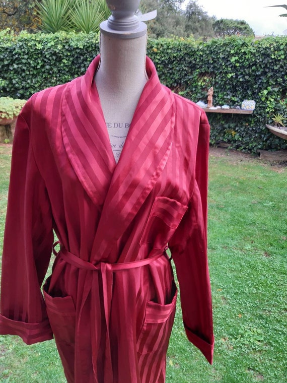 Men's dressing gown 70s vintage red wine dressing