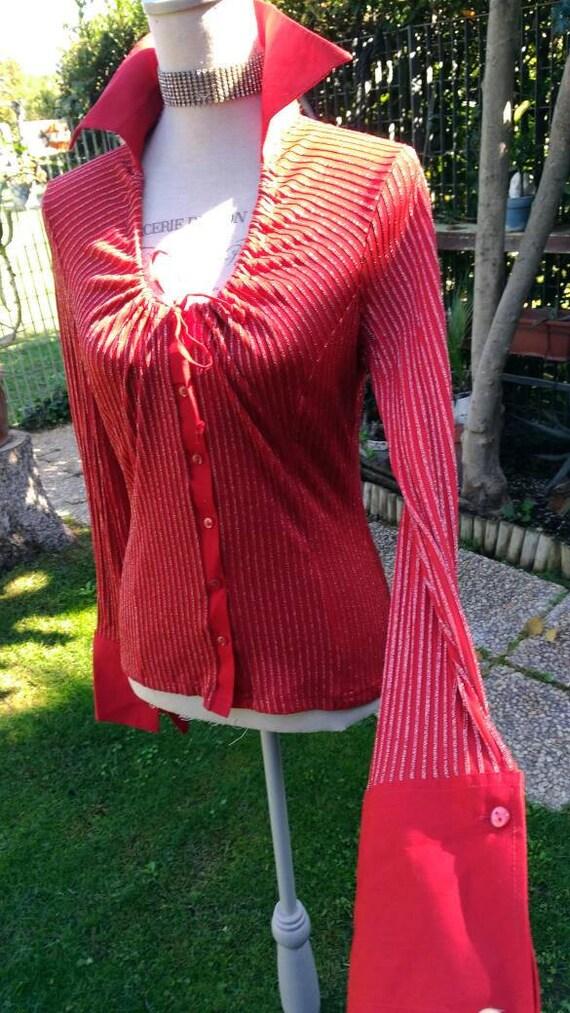 Red blouse red Chemise blazer disco disco disco re