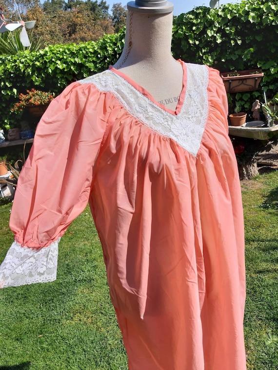 Nightgown shabby chic vintage orange white lace VI