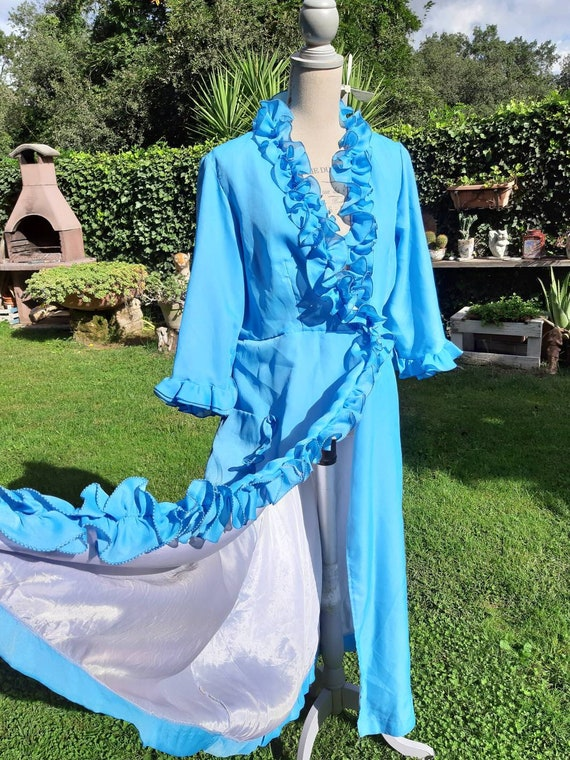 Dressing gown 70s blue vintage robe Hollywood diva