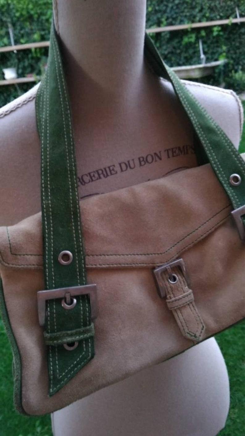 Handbag vintage bag woman green Mango beige year 90 buckles leather handles  yuppie style