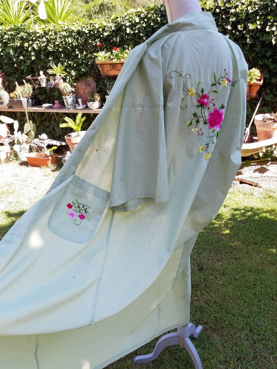 Kimono dressing unisex bedroom dress vintage green