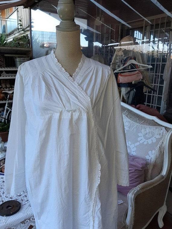 Nightgown vintage white cotton natural cotton line