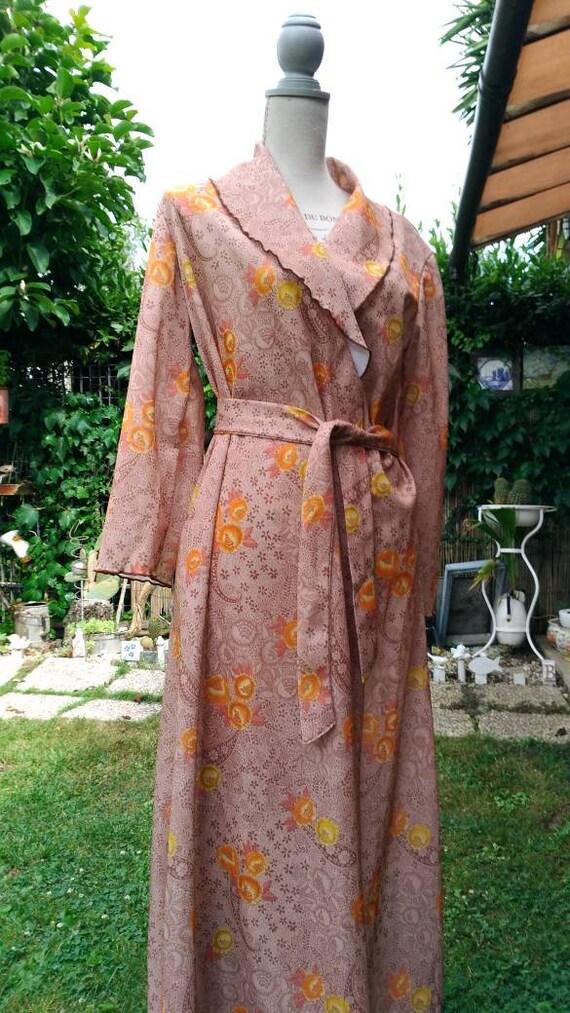 Vintage 70s dressing gown orange beige dressing go
