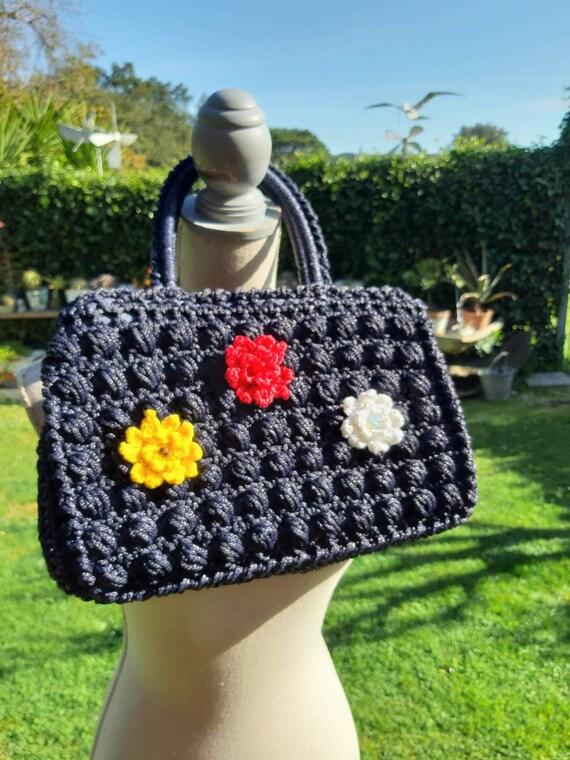 Bag 60s blue vintage bag delicious crochet crochet