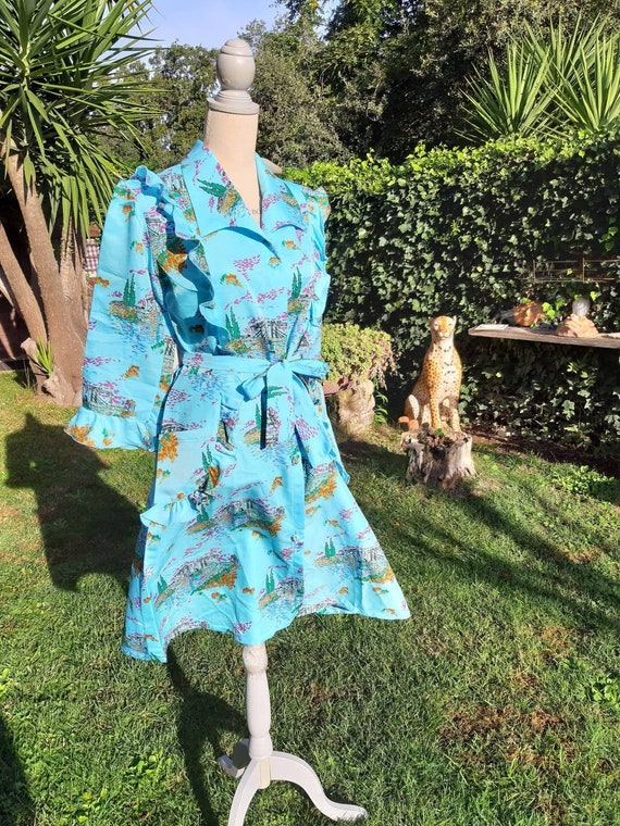 Dressing gown vintage diva Hollywood 70s turquoise