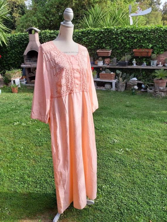 Vintage orange nightgown sensual lace pierced 70s
