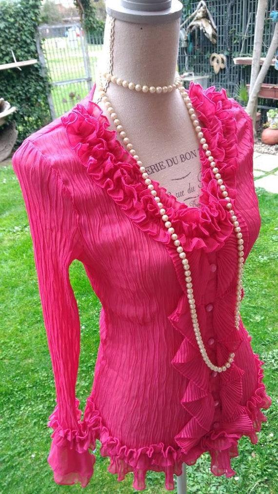 Shirt blouse vintage chic ruffle fuchsia party coc