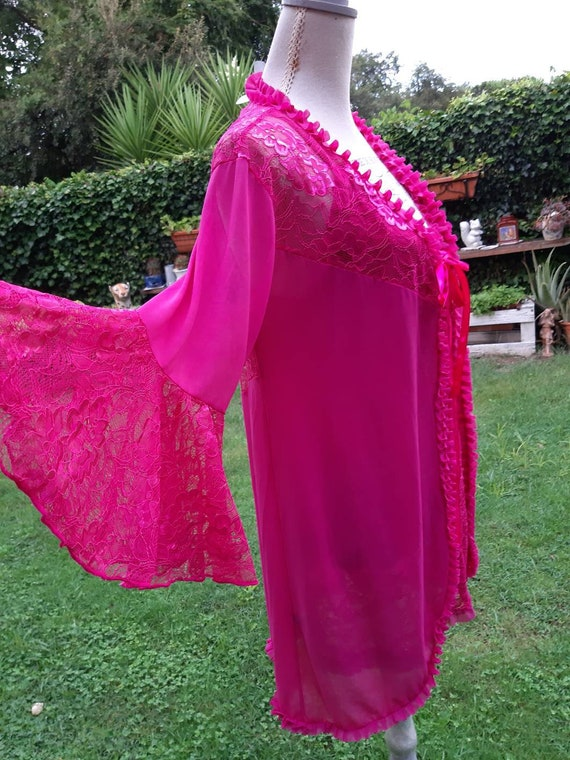 Coordinated babydoll and robe matine' fuchsia SPOS