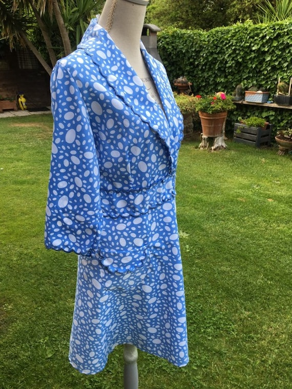 Dressing gown matinè dressing gown blue white gorg