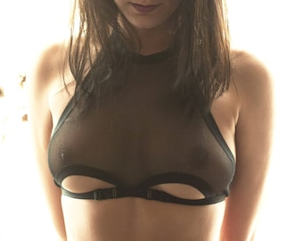e51a0af9bed Women Purple Bralette See Through Lingerie Sheer Bra Erotic