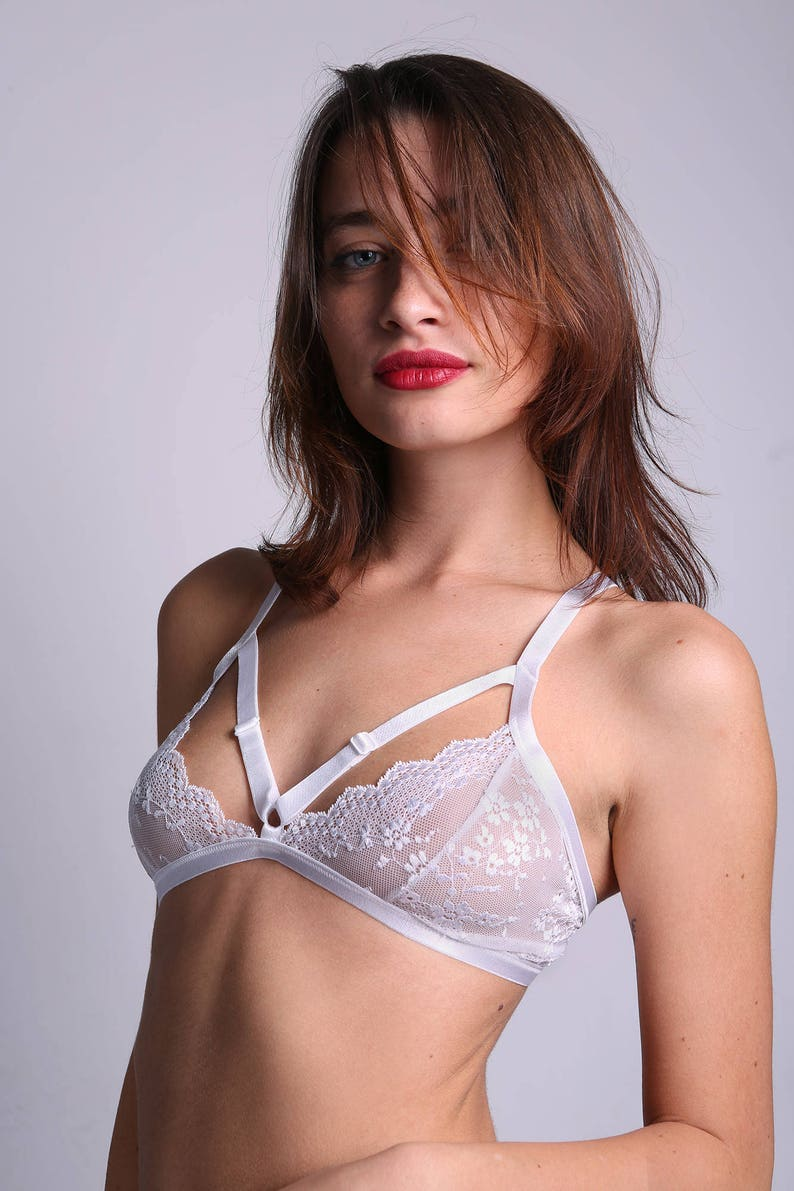 dd8fb5cbbbce Sheer Bra Sexy White Bra White Lace Bra Plus Size Lingerie | Etsy