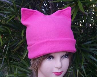 f3e65bc22de70c Pink Pussycat Hat Fleece, Pink Pussycat Pink Hat, Pink Pussy Hat, Women's  Rights Cat Hat, Fleece Pink Hat for Women, Teens Pink Cat Hat
