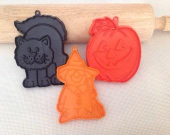 Halloween Vintage Cookie Cutters Pumpkin Cat Witch Hallmark