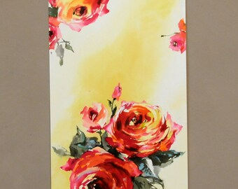 """floral painting, watercolor painting, home decor wall art, hand painting, hand painted art, original painting, original artwork, 11"""" x 19"""""""