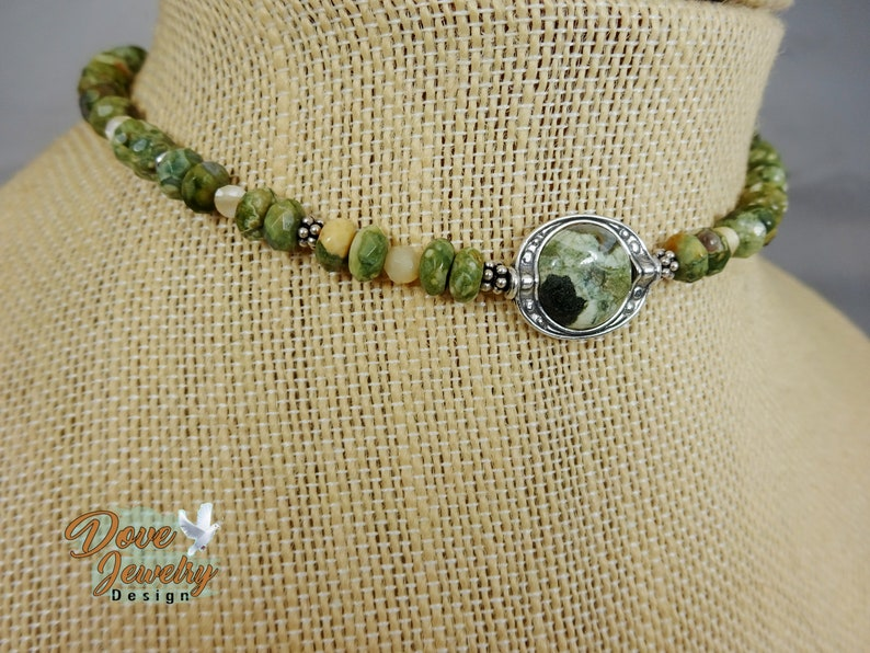Rhyolite and Sterling Silver Necklace with Bali Beads  Boho Choker Sterling Silver /& Semiprecious Stone Choker