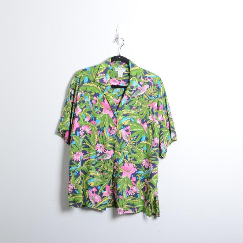 VTG 90s Tropical Hawaiian Vacation Birds Oversized Blouse Size Medium