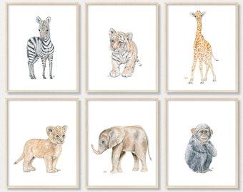 Safari Nursery Print Set of 6 Jungle Nursery Art, Pick Your Animal Nursery Prints, Childs Room Art Kids Playroom Art, Original Signed Prints