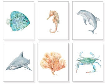 Coastal Art Ocean Art Sea Art Prints Beach Wall Art Tropical Watercolor Ocean Animals Sea Life Blue Crab Fish Dolphin Shark Seahorse Coral 6