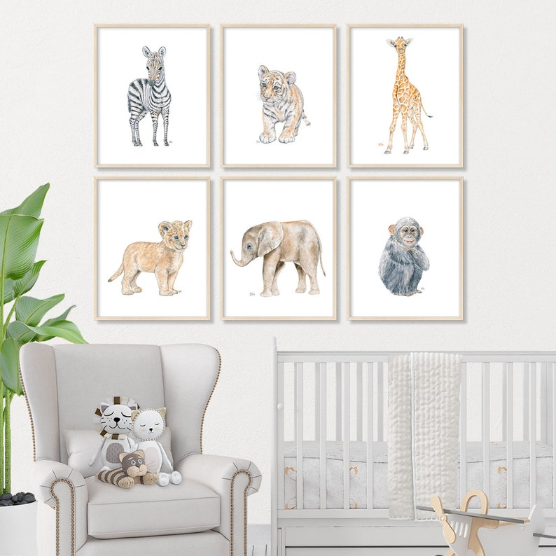 Safari Nursery Print Set of 6 Jungle Nursery Art Pick Your image 0