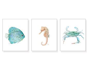 Sea Art Ocean Prints Tropical Wall Art Ocean Painting Beach Home Decor Blue Fish Blue Crab Seahorse Watercolors Coastal Art Prints Set of 3.
