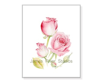 Rose Painting Rose Print Rose Art Rose Watercolor Rose Wall Art Rose Decor Rose Wall Decor Red Rose Painting Pink Rose Watercolor Print Art.