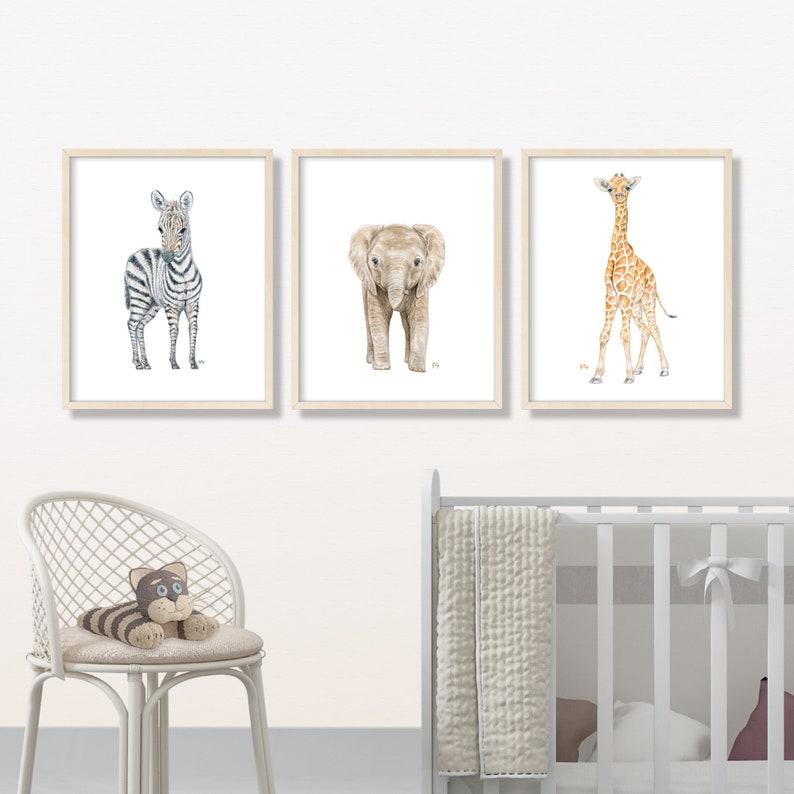 Playroom Childrens Giraffe Watercolor Animal Prints Baby Boy Nursery Wall Art Lion zebra Jungle Safari Nursery Decor Boys Room Decor