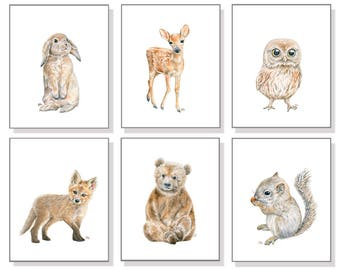 Woodland Nursery Art Woodland Nursery Prints Woodland Nursery Decor Woodland Baby Animal Prints Nursery Wall Art Girl Boy Watercolors Set 6.
