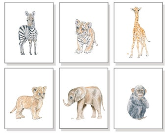 Safari Nursery Prints Safari Nursery Art, Baby Animal Nursery Baby Animal Prints, Jungle Nursery Wall Art Nursery Decor Childs Watercolors 6