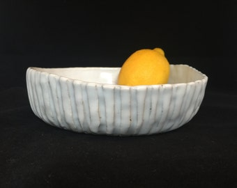 White Fluted Stoneware Bowl